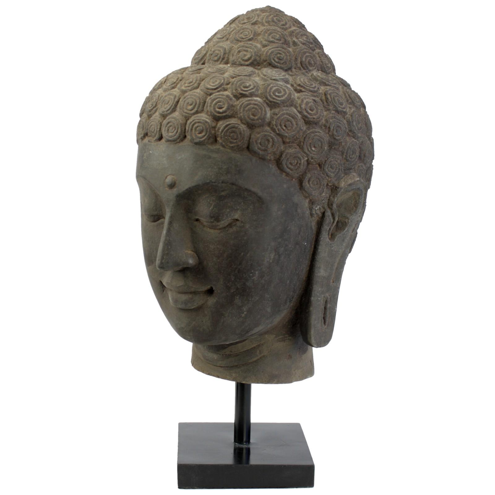 buddha kopf lavastein 54cm bali budda figur antikfinish. Black Bedroom Furniture Sets. Home Design Ideas