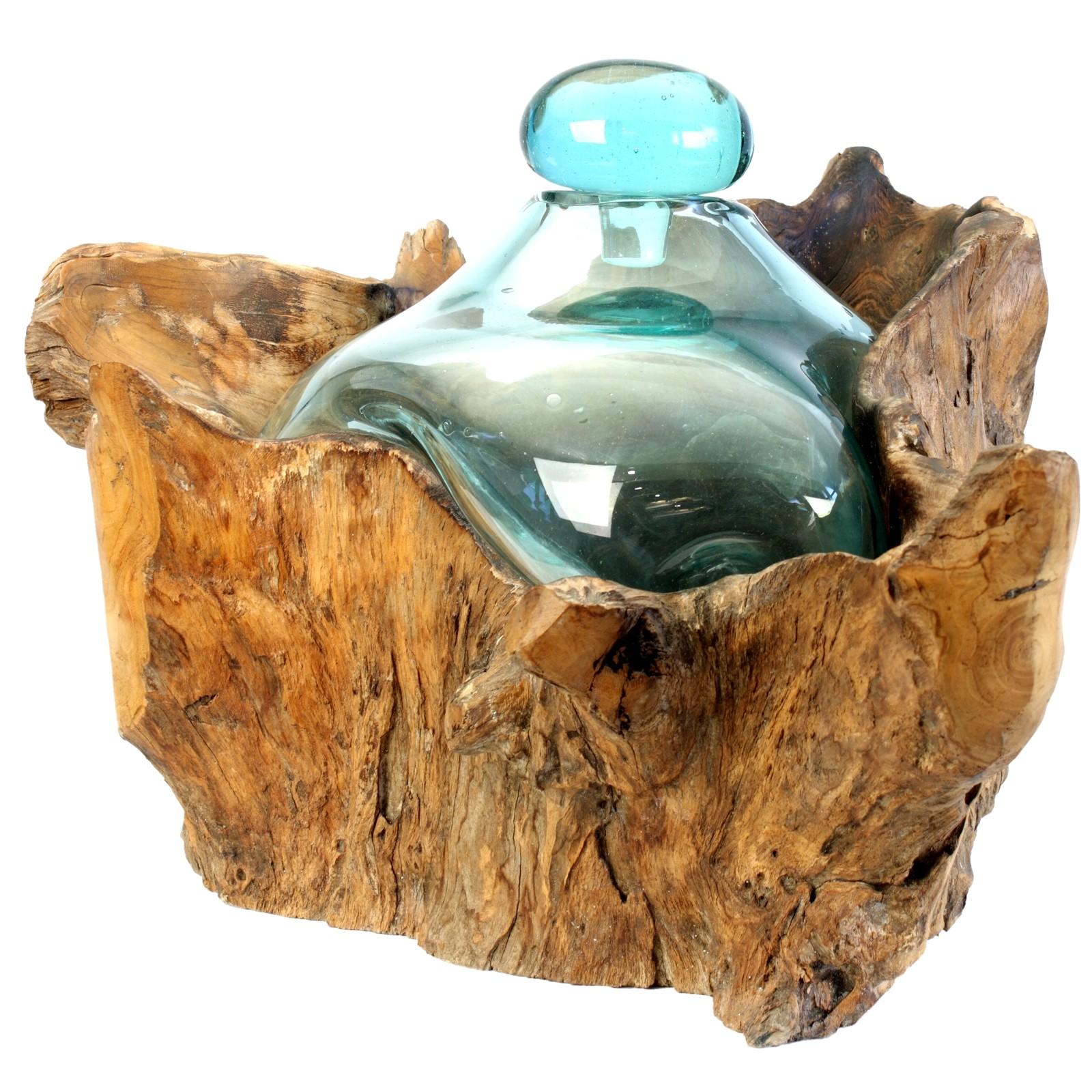 teak wurzel glasvase 62 cm teakholz wurzelholz tisch deko wohnzimmer vase holz ebay. Black Bedroom Furniture Sets. Home Design Ideas