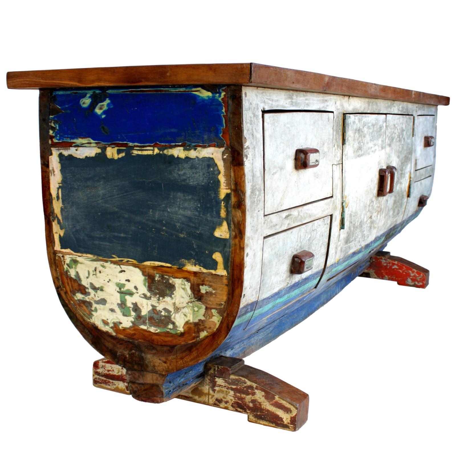 sideboard 200 cm bali altes teak bootsholz massiv. Black Bedroom Furniture Sets. Home Design Ideas