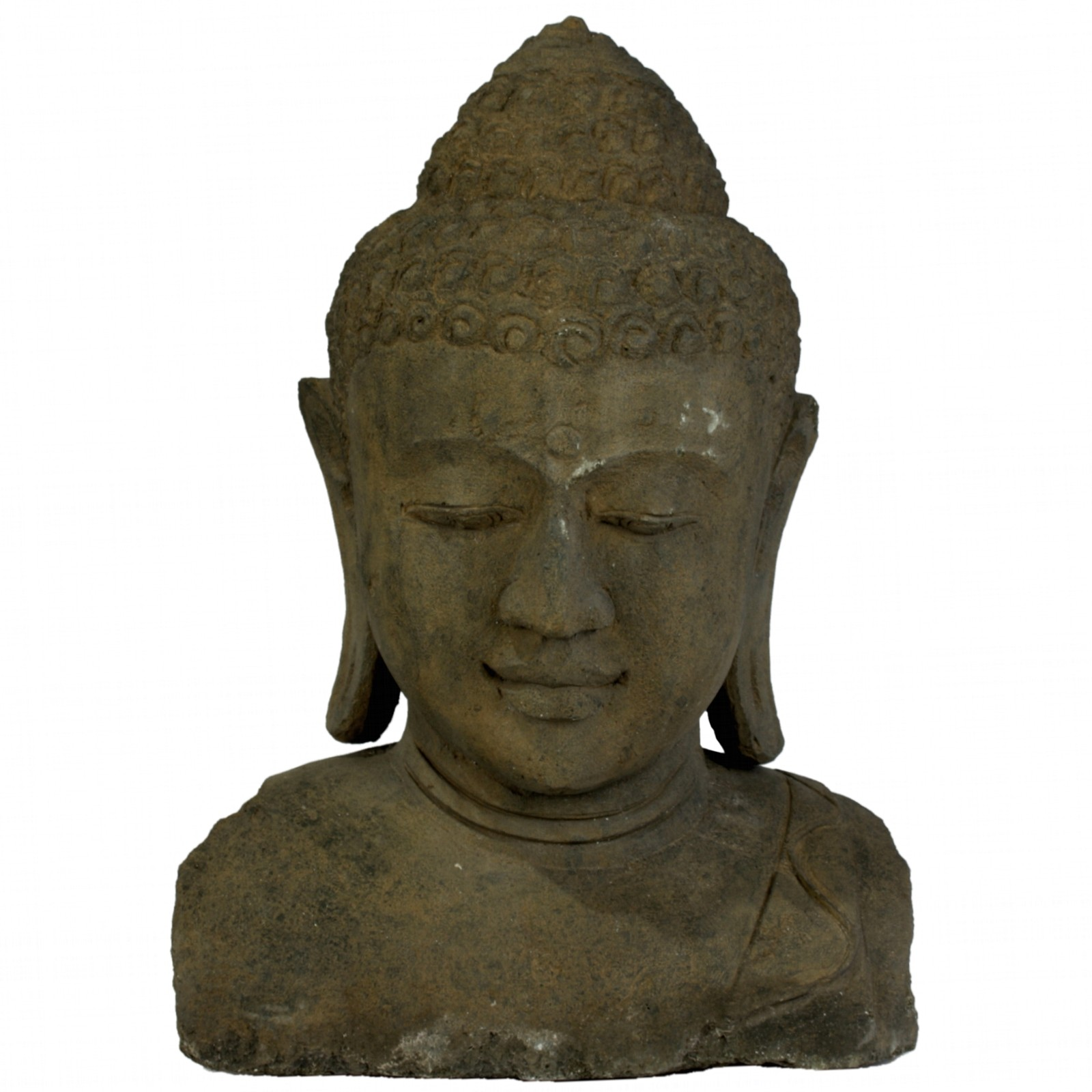buddha kopf stein 64 cm bali budda gartendeko. Black Bedroom Furniture Sets. Home Design Ideas